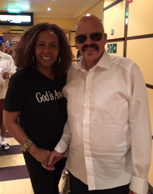 With Tom Joyner, speaking on his annual cruise