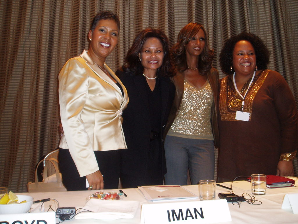 Panel with entrepreneurs Janice Bryant Howroyd, Iman and Lisa Price